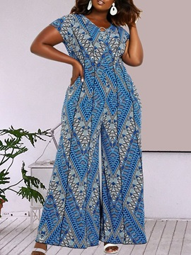 Plus Size African Fashion Print Full Length Wide Legs Slim Women's Jumpsuit
