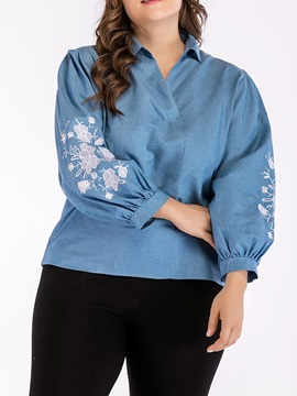 Plus Size Lapel Floral Embroidery Women's Blouse