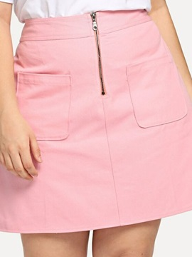 Plus Size Pocket Plain Mini Skirt Sweet High Waist Women's Skirt