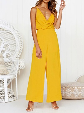Plain Date Night Full Length Loose High Waist Women's Jumpsuit