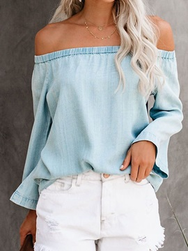 Plain Off Shoulder Long Sleeve Pleated Women's Blouse