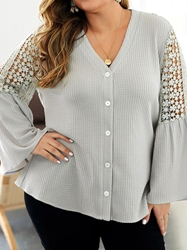 Plus Size Plain Flare Sleeve V-Neck Button Women's Blouse