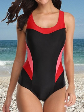 Hollow Sexy Color Block Patchwork One Piece Swimwear