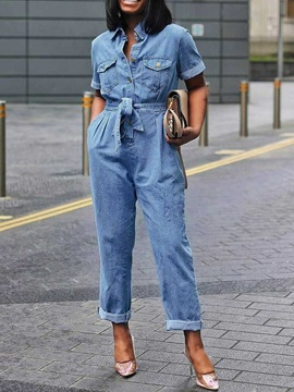 Plus Size Plain Lace-Up High Waist Women's Denim Jumpsuit