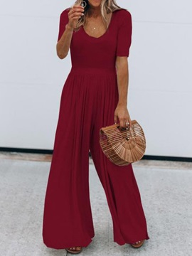 Full Length Plain High Waist Loose Women's Jumpsuit