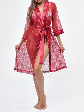 Cardigan Hollow Plain Lace Sexy Robe
