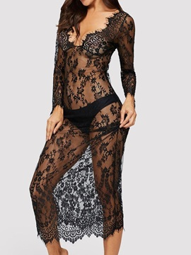 V-Neck See-Through Lace Long Sleeve Sexy Dresse