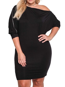 Plus Size Oblique Collar Zipper Above Knee Women's Bodycon Dress