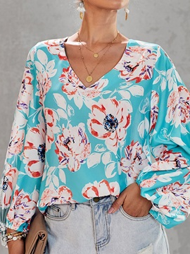 Color Block Floral V-Neck Lantern Sleeve Women's Blouse