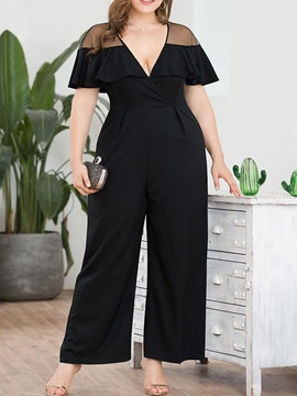 Plus Size Plain Full Length Zipper Wide Legs Loose Women's Jumpsuit