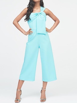 Zipper Mid-Calf Plain Loose High Waist Women's Jumpsuit