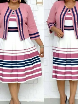 Plus Size Print Three-Quarter Sleeve Mid-Calf Stripe Women's Dress