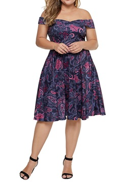 Plus Size Print Short Sleeve Mid-Calf Women's A-Line Dress