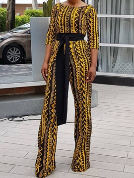 Color Block Print Fashion Slim Women's Jumpsuit