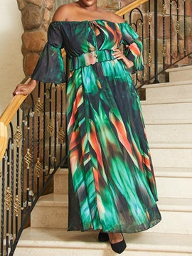 PlusSize Off Shoulder Lace-Up 3/4 Sleeve Flare Sleeve Women's Maxi Dress