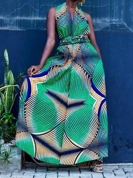 Color Block African Fashion Dashiki Full Length Wide Legs Women's Jumpsuit