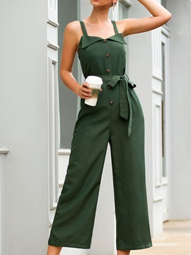Strap Fashion Mid-Calf Loose Women's Jumpsuit