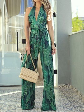 Backless Full Length Western Loose Women's Jumpsuit