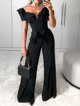 Full Length Plain Fashion Wide Legs Loose Women's Jumpsuit