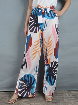 Loose Floral Print Full Length Wide Legs Women's Casual Pants