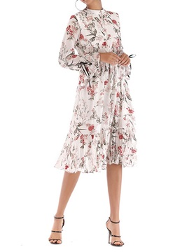 Long Sleeve Lace-Up Stand Collar Floral Women's A-Line Dress