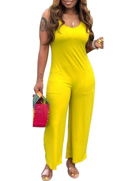 Full Length Plain Pocket Loose Women's Jumpsuit