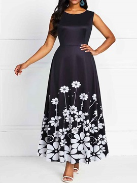 Round Neck Print Ankle-Length Floral Women's A-Line Dress