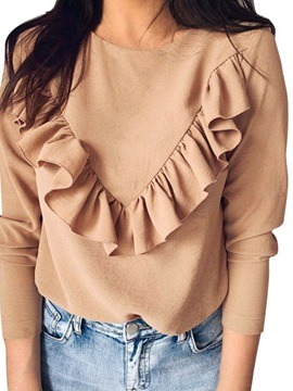 Plain Pleated Long Sleeve Women's T-Shirt
