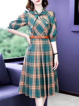 Lace-Up Mid-Calf Three-Quarter Sleeve Plaid Pullover Women's Dress