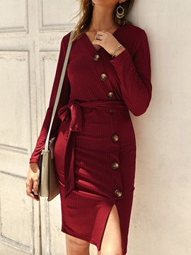 Knee-Length Split Long Sleeve Sweet Regular Women's Dress