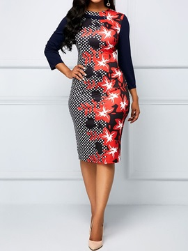 Mid-Calf Round Neck Print Women's Bodycon Dress