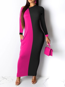Patchwork Ankle-Length Long Sleeve Color Block Pullover Women's Dress