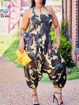 Camouflage Mid-Calf Print Loose Women's Jumpsuit