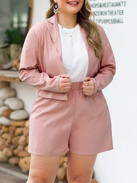 Plus Size Plain Jacket Wide Legs Notched Lapel Women's Two Piece Sets