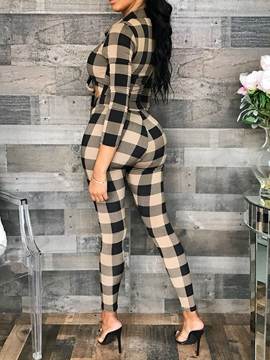 Plaid Sexy V-Neck Women's Two Piece Sets