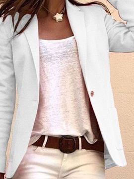 Plain One Button Long Sleeve Mid-Length Regular Women's Casual Blazer