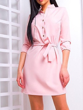 Three-Quarter Sleeve Above Knee Stand Collar Pullover Fall Women's Dress