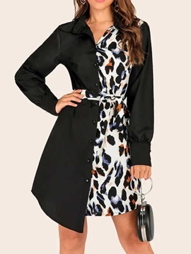 Long Sleeve Above Knee Patchwork Single-Breasted Mid Waist Women's Dress