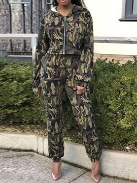 Camouflage Zipper Women's Two Piece Sets