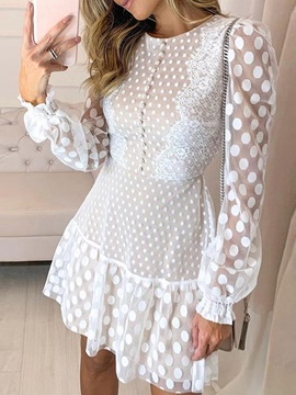Round Neck Long Sleeve Lace Flare Sleeve Spring Women's Dress