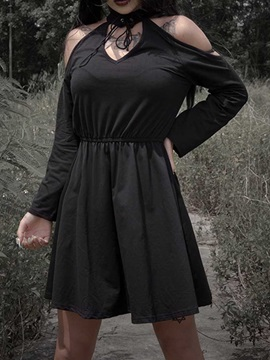 Halloween Costume Lace-Up Above Knee Long Sleeve A-Line Cold Shoulder Women's Dress