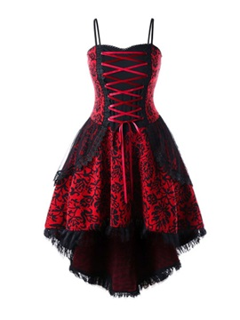 Halloween Costume Sleeveless Mid-Calf Lace-Up Mid Waist Asymmetrical Women's Dress