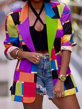 Color Block Nine Points Sleeve Notched Lapel Fall Regular Women's Casual Blazer