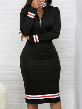 Stand Collar Mid-Calf Long Sleeve Pullover Bodycon Women's Dress