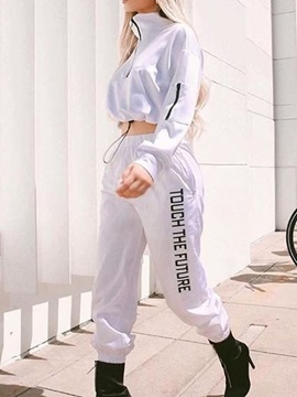 Ankle Length Color Block Casual Pullover Pencil Pants Women's Two Piece Sets