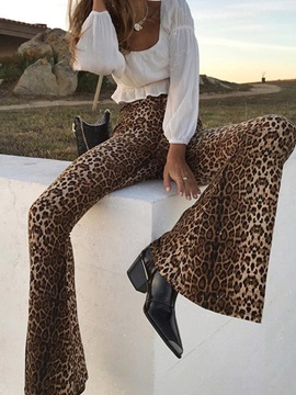 Slim Leopard Mid Waist Bellbottoms Women's Casual Pants