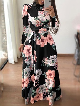 V-Neck Long Sleeve Print Floral Women's Dress
