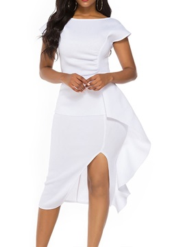 Round Neck Short Sleeve Mid-Calf Sexy Women's Dress