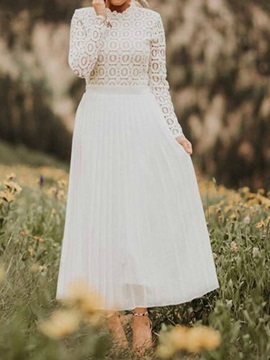 Mid-Calf Stand Collar Lace Sweet Pleated Women's Dress
