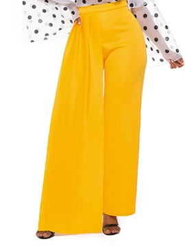 Plain Loose High Waist Full Length Women's Casual Pants